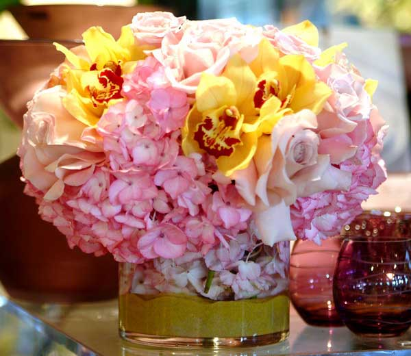 Pink yellow flowers floral arrangements centerpiece ideas